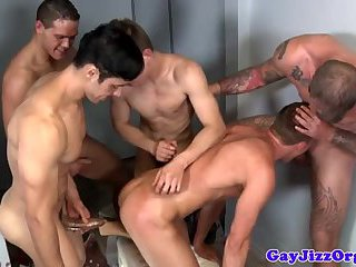 Four muscled hunk drill dudes tight ass
