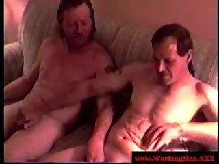 Mature redneck bears jerking each other