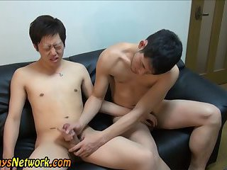 Asian cock tugged for cum