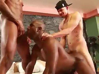 Naughty interracial gay trio fucking