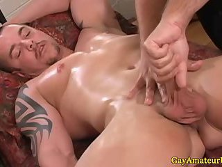 Muscular hunk getting tugged off