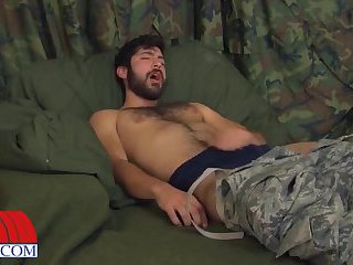 Naughty Guy In Uniform Beating Off
