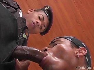 Luscious Ebony Dudes In Uniform Fucking