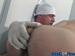 Amateur doc cums hard