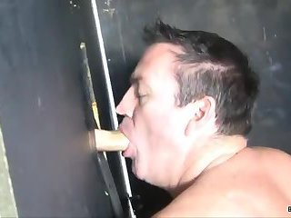 Horny Guy Eating Cock in Gloryhole