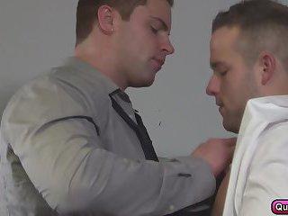 Luke Adams heavy throat fucking shoves his cocks on Jake Wilders ass
