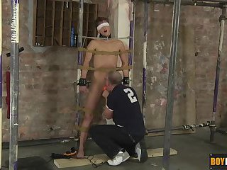 Sweet young Casper is already blindfolded and roped up tight