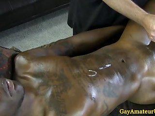 Interracial massage table cumshot action