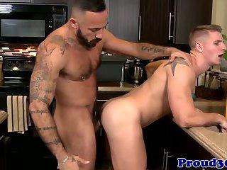 Gay jock banged closeup by a hunky plumber