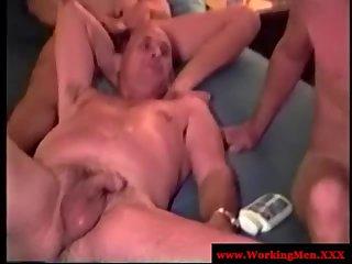 Mature dilf bears group masturbation