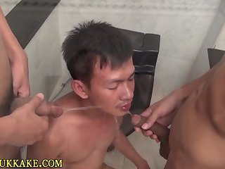 Twinks pee and shoot load