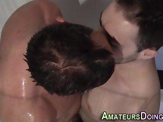 Newb guys kiss in shower