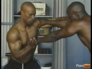 Muscle Black Guys Wrestling
