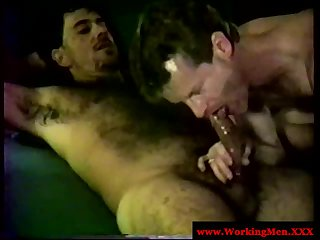 Straight mature bear pleasure each other with blowjob