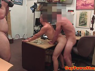 Gaybait pawnshop amateur spitroasted for cash