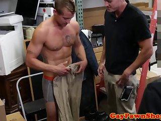 Straight pawnshop jock amateur shows off body