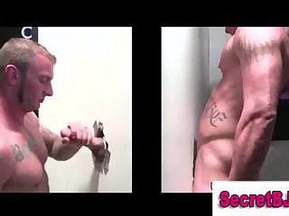 Straight dude gets blowjob by gloryhole gay guy