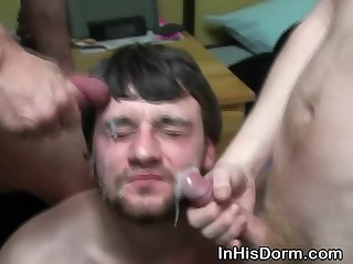 Gay College Boy Taking Double Facials At Dorm Party