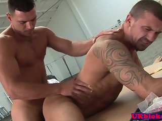 Brit jock fucking stud with voyeur watching