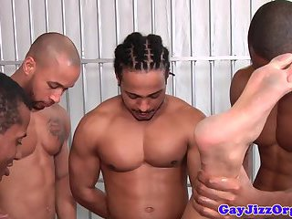 Ebony studs ram white hunk in prison cell