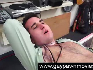Amateur dude gets gay ass fucked for cash at pawn shop