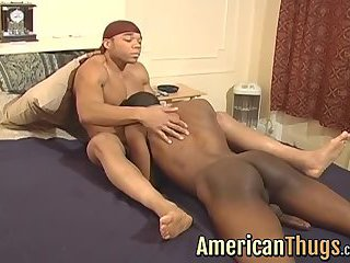 Black american thug getting pounded hard in his tight ass