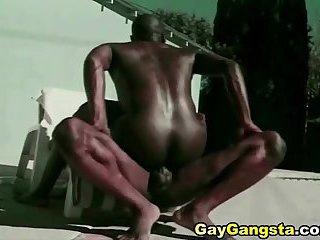 Hot Gay Gangsta do Anal Fucking Beside the Pool