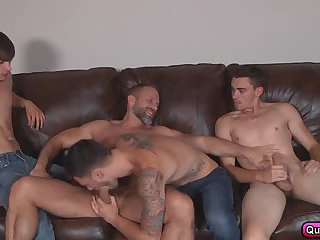Three step brothers take turns fucking the dirty daddy Dirk Caber