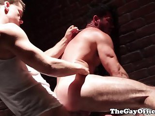Office hunk assfucked hard in restroom