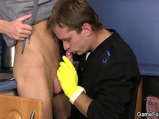 Hetero plumber turns into gay slut boy