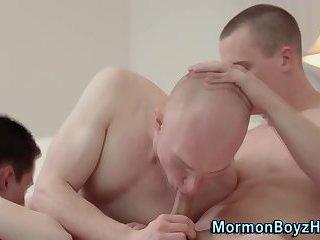 Uniform mormons fuck raw