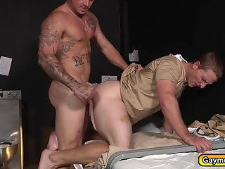 Landon sucks Sebastians dick on his knee and fucks anal