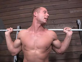 Muscled gay sperm soaked