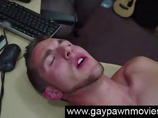 Naked straight guy gets gay anal fucking for cash on spycam