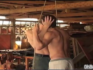 Hard anal fucking twinks inside the woodshop
