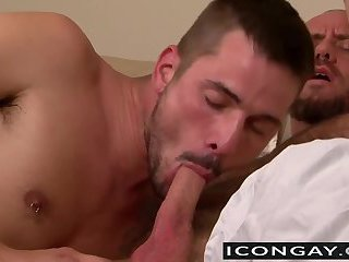 Morning blowjob after waking up on his big daddy arms