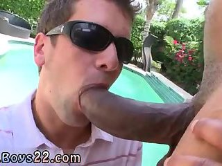 Sucking big black dick by the pool