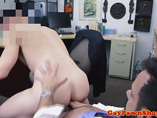 Assfucked pawnbroker rimmed by customer