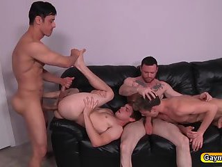 Group of gays stuffing dicks and pounding anal