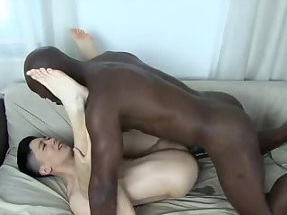 Asian boy takes a huge black cock