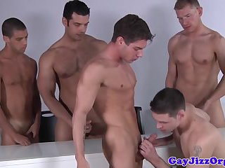 Straight hunk facialized after sucking cock