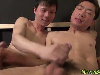 Japanese twink tugs cum