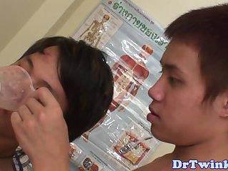 Asian twink drinks doctors pee