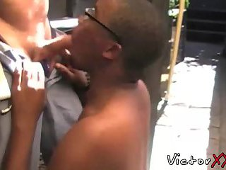 Muscle daddy enjoying in interracial bareback sex