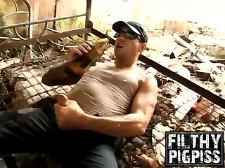 Joe loves some outdoor pissing while having beer and wanking