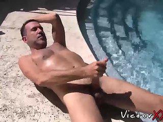 Daddy with big dick love solo masturbation outdoor
