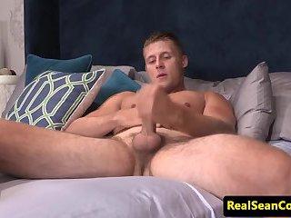 Handsome stud jerking his throbbing dick