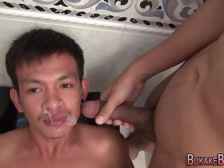 Asian twinks get bukkake