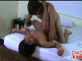Horny Daddy and cute twink Xavier having sex in a bedroom
