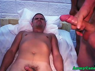 Military amateur sucking on two hard dongs